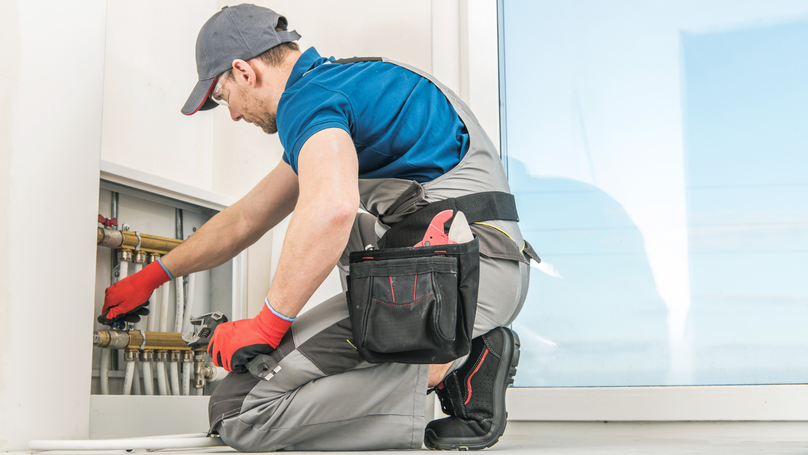 Technician Checking Residential Floor Heating